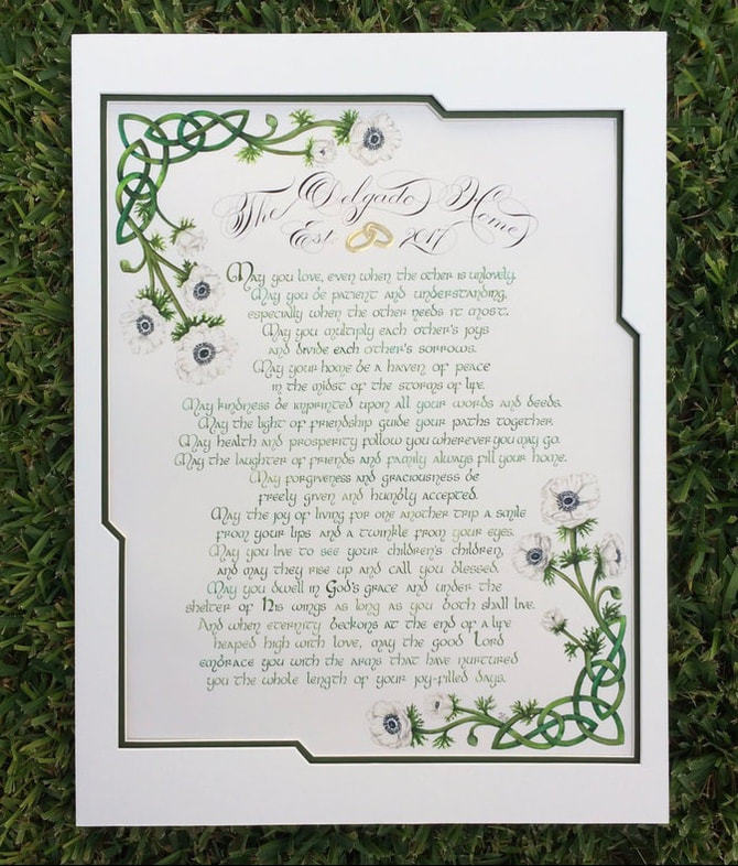 Irish wedding blessing custom calligraphy art